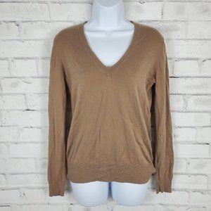 J. Crew Womens M Taupe Long Sleeve V-Neck Shirt